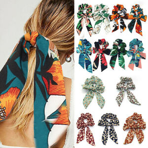 Ponytail Scrunchies Long Ribbon Elastic Bow Scarf Hair Rope Tie Band Hairbands