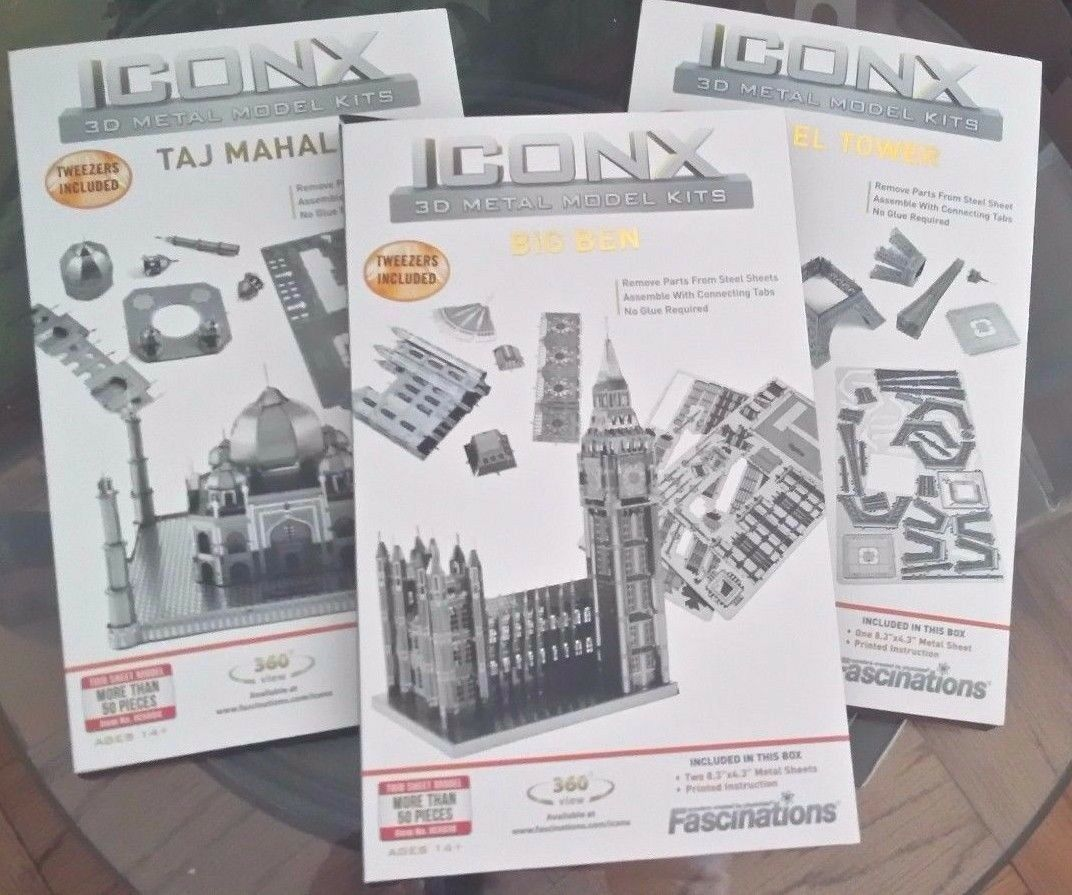 Iconx 3D Metal Kits  Big Ben   Eiffel Tower   Taj Mahal  3 box lot
