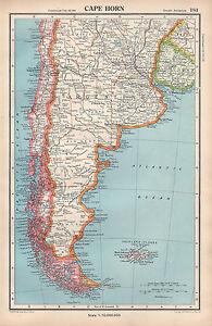 1952 Map Cape Horn Argentina Falkland Islands Chile Uruguay Ebay