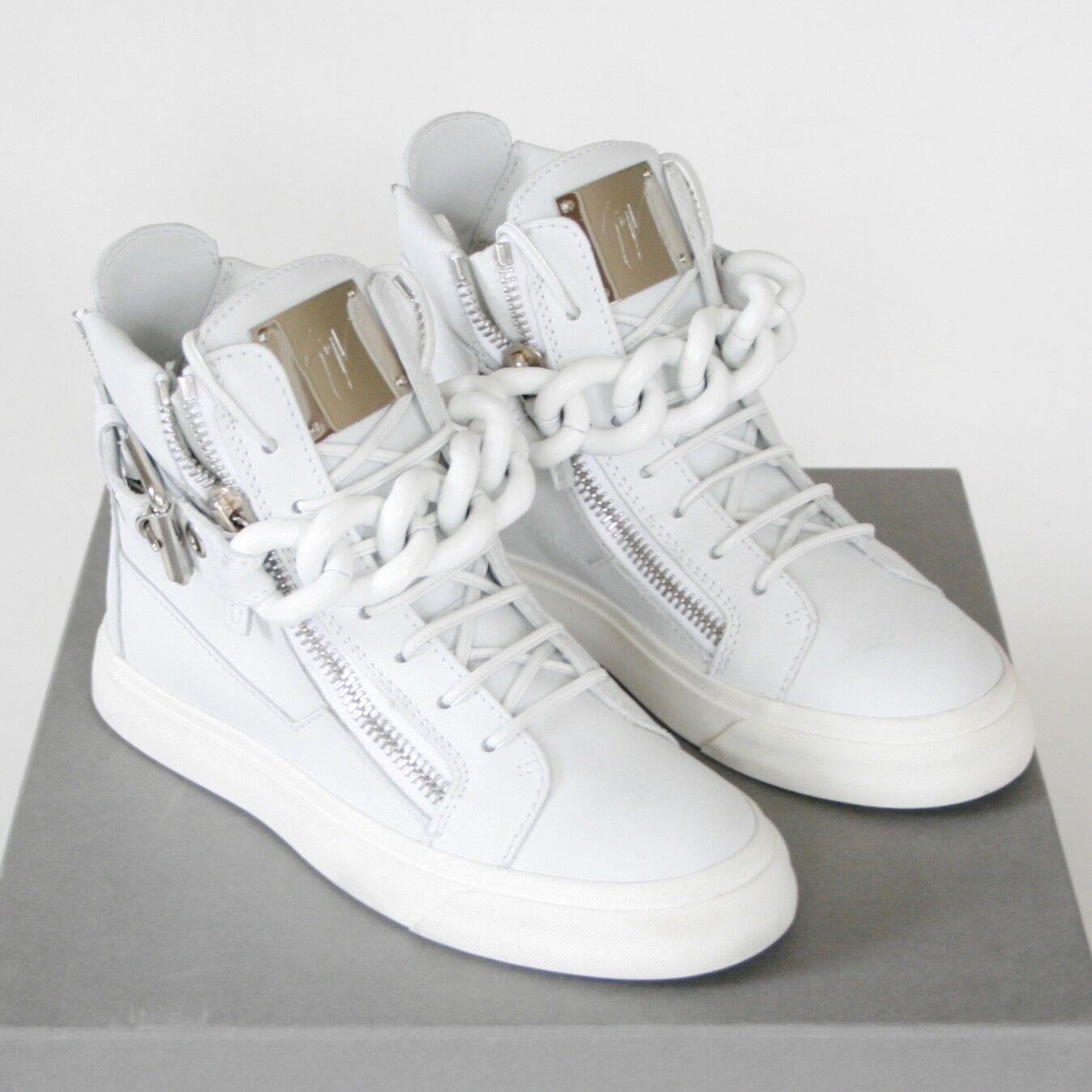 GIUSEPPE ZANOTTI off blanc leather chaussures birel chain hi top baskets 35 NEW