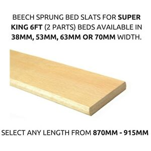 Details About Replacement 6ft Super King Bed Beech Sprung Bed Slats Any Length 38mm 53mm 63mm
