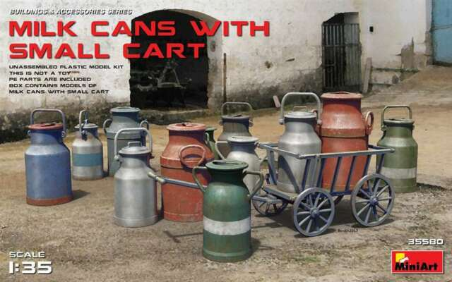 Miniart 1/35 Milk Cans with Small Cart  #35580  *new release*