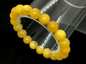 Amber-BRACELET-Natural-Baltic-Amber-Egg-Yolk-Yellow-Round-Beads-Ladies-8-6g-A77