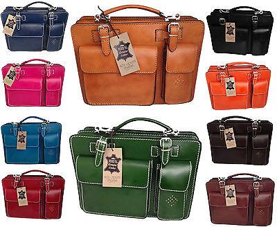 Originale Borsa Bag Cartella Media Porta Documenti Da Lavoro Vera Pelle Made In Italy 7006 Buona Conservazione Del Calore