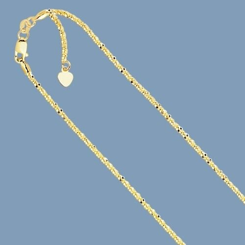 """1.5mm Solid Adjustable Sparkle Twisted Rock Chain REAL 14K Yellow Gold Up To 22/"""""""