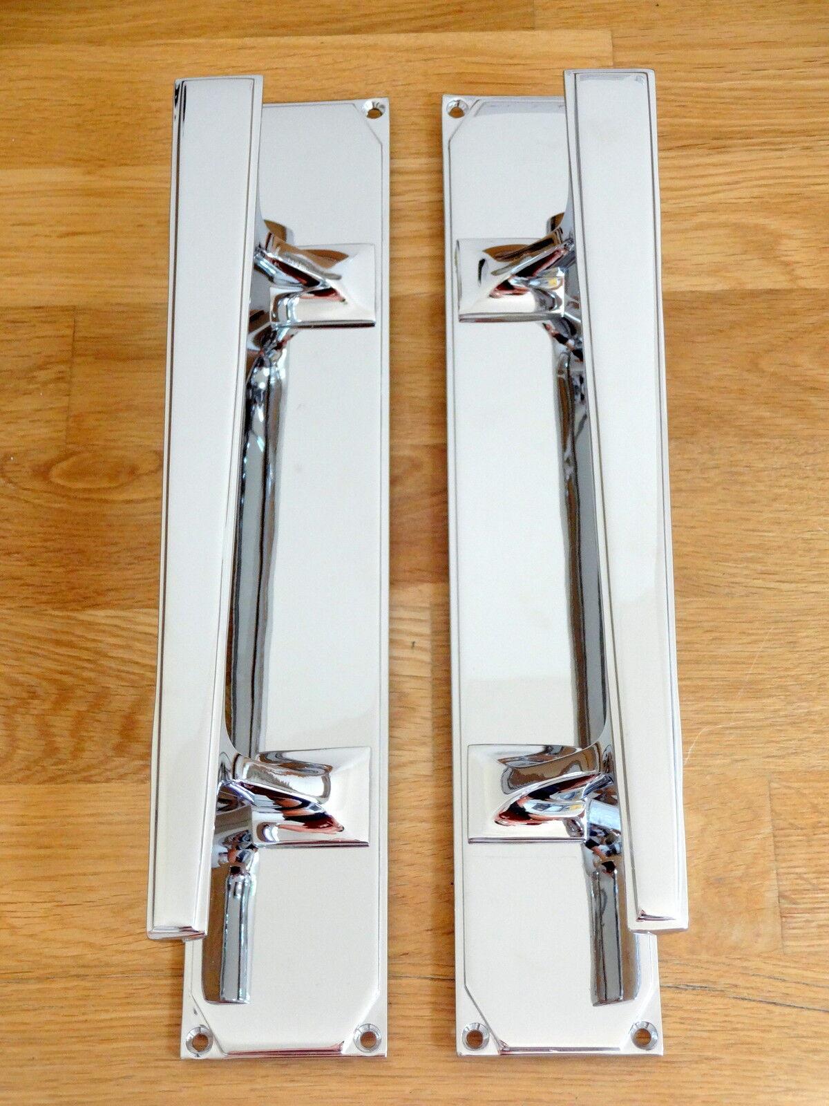 CHROME DOOR PULL HANDLES (PAIRS) ART DECO KNOBS PLATES FINGER PUSH EDWARDIAN