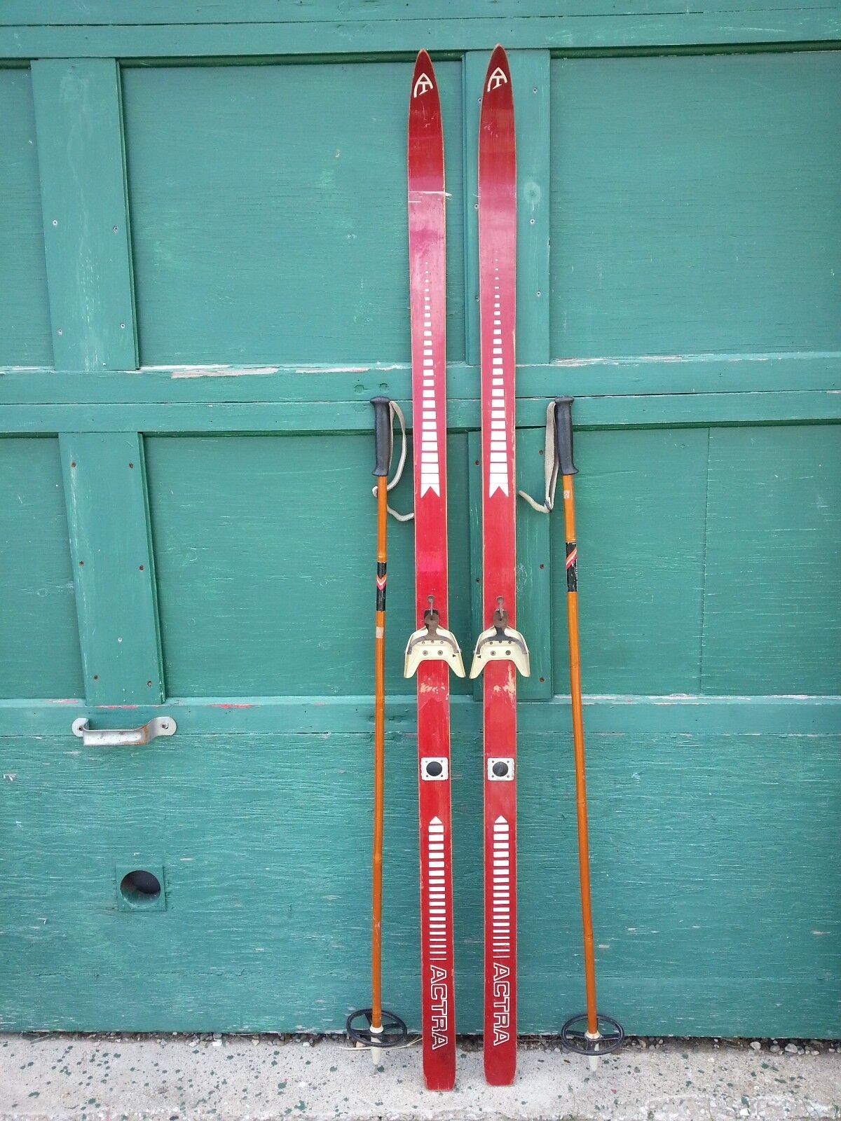 Old Set of 70  Long Wooden RED Skis with Ski Poles
