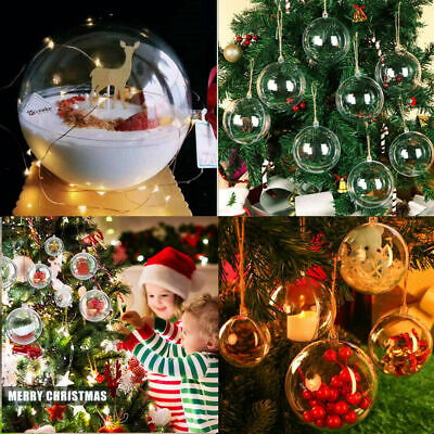 5x 8cm Clear Ball Sphere Fillable Baubles Christmas Tree Wedding Ornaments Decor