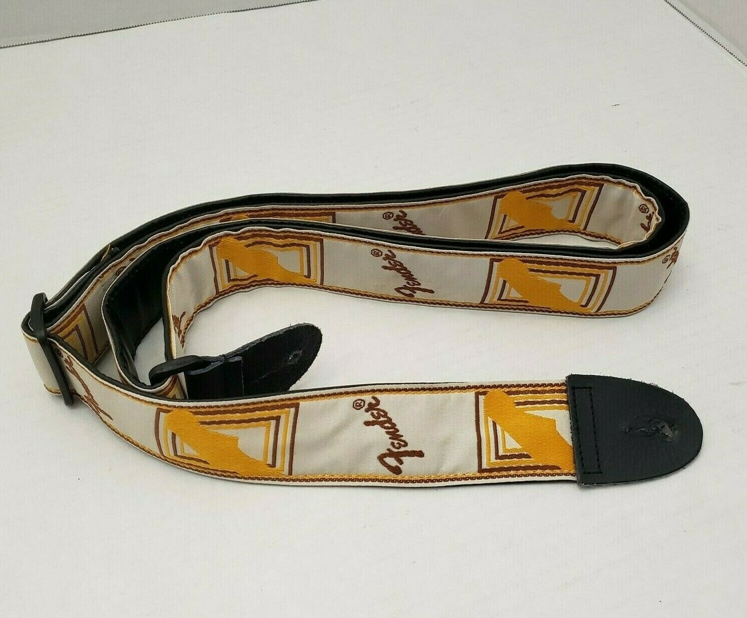 Fender Guitar Shoulder Strap Belt Cream Gelb Mustard braun Rare Logo Monogram