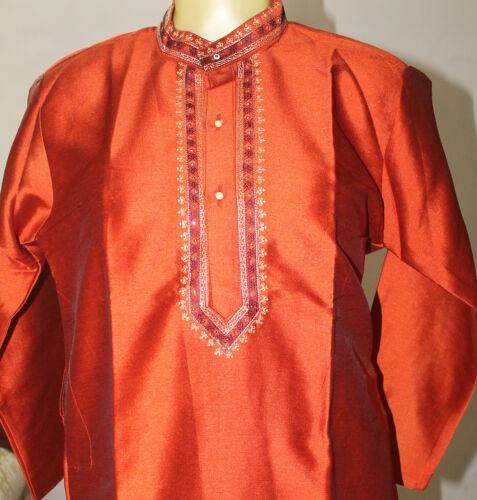 Apparelsonline Orange silk  Boys kurta Pajama set With Free Shawl Age 10,11