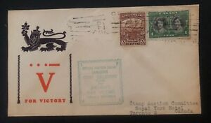 1940s-Canada-Patriotic-cover-to-Toronto-For-Victory-Cachet-Mixed-Franking
