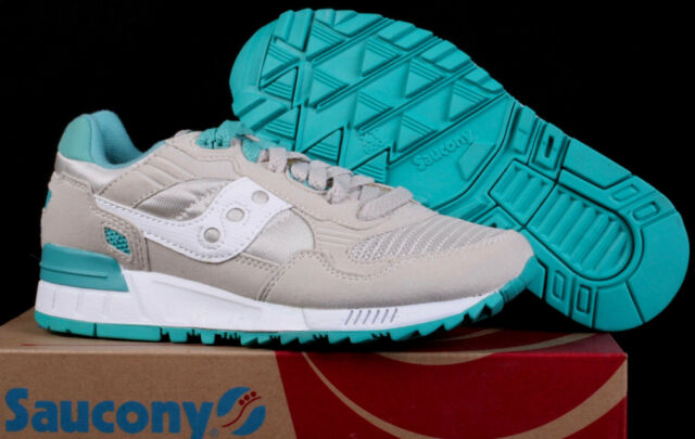 New Women's Saucony Shadow 5000 Tan Aqua Blue & White Low Running Shoes Size 5