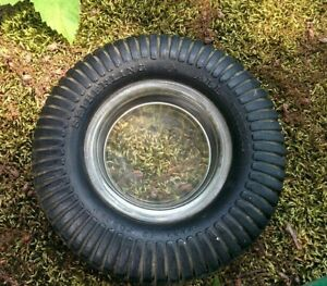 Vintage-RUBBER-TIRE-Clear-GLASS-INSERT-Bowl-ASHTRAY-Seiberling-All-Tread-Canada