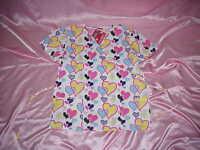 Denice V-neck Hearts Medical Scrubs Top/shirt M Front Bust 42