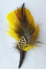 Hat Band Feather, Hatband Feathers, Fedora Tuxedo  Yellow feather, pheasan
