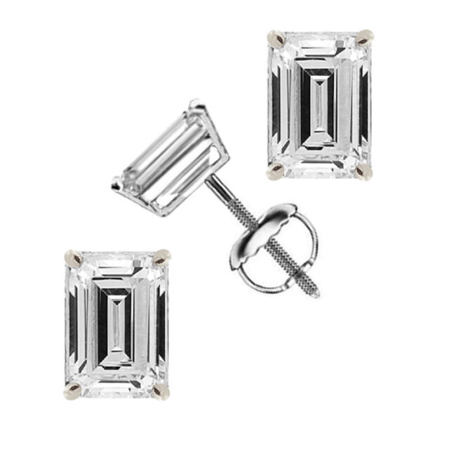 1.00 tcw Emerald Cut Solitaire Stud Earrings 14k White Gold Screw Back VVS1