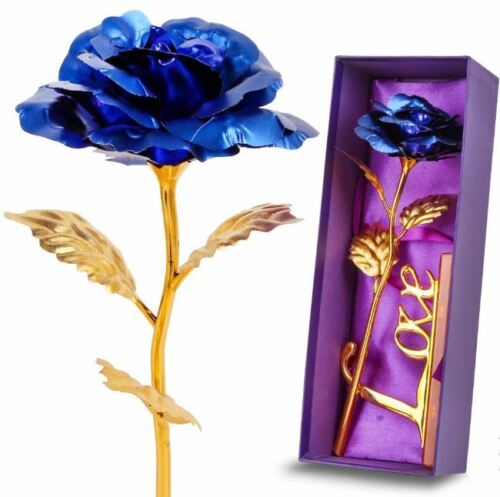 Luxury Gold Rose Flower Plated Dipped In 24K For Mother/'s Day Bday Gifts Woman
