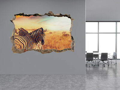 Cute Zebras at sunset photo Hole in wall sticker wall mural 31117073