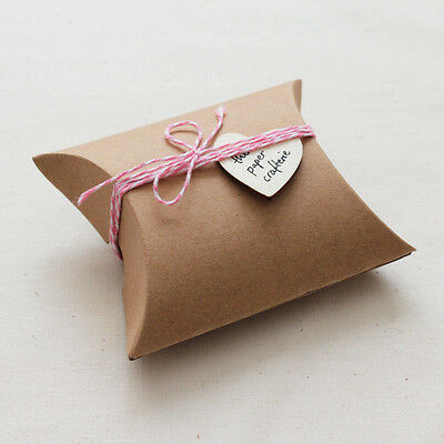 KRAFT PILLOW CANDY BOXES Favour Wedding Baby Shower Rustic Packaging 50pcs Small