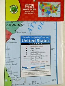 United-States-Wall-Map-Poster-Size-40W-X-26H-School-Student-Teacher-Geography