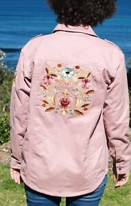 NWT-Embroidered-Back-Festival-Jacket-Dusty-Pink-Size-10-12-amp-PLUS-SIZE-18-20
