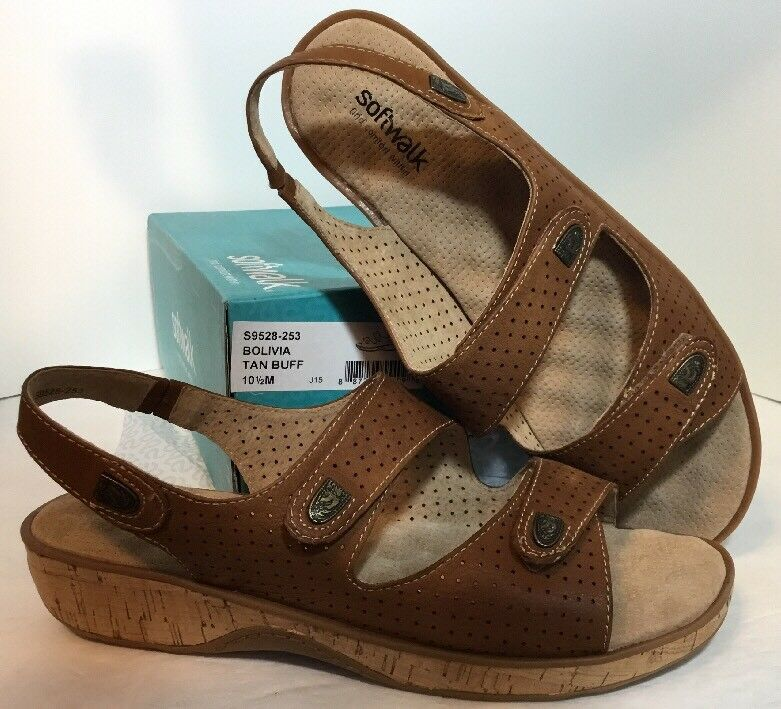 NEW SOFTWALK Sandals Cushion Shoes Size 10 12 Tan Pelle