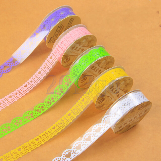 5pc Washi Paper Lace Roll DIY Decorative Sticky Paper Masking Tape Adhesive EW