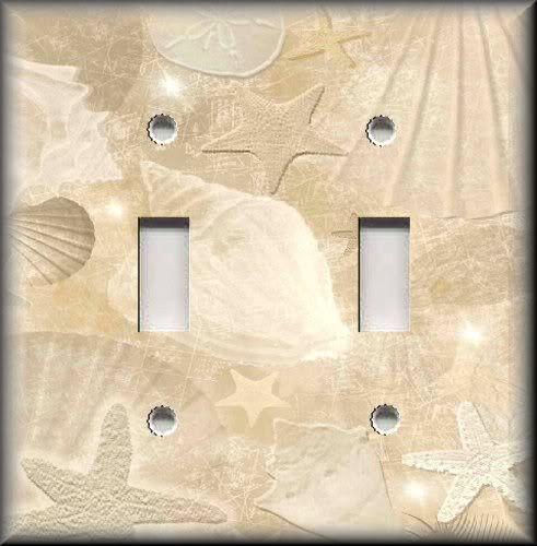 Metal Light Switch Plate Cover - Beach Decor - Tranquil Beach Shells Home Decor