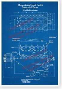 WWI-Hispano-Suiza-Aircraft-Engine-Left-Side-View-13x19-Blueprint-Poster