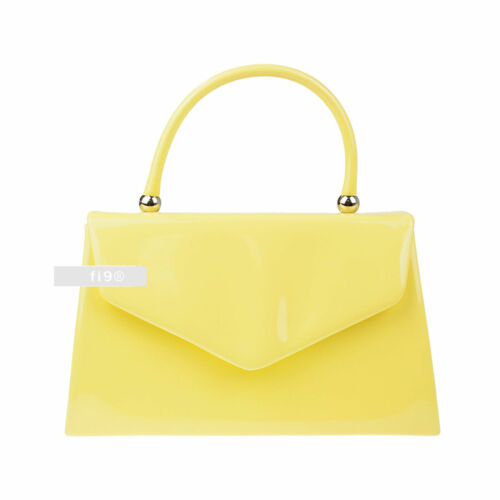 Stylish Yellow Patent Wedding Ladies Party Prom Evening Clutch Hand Bag Purse