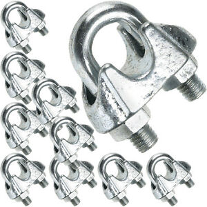 10 x 5mm Galvanised Steel Grip Clamp/Clips – Wire Rope Lashing Cable ...