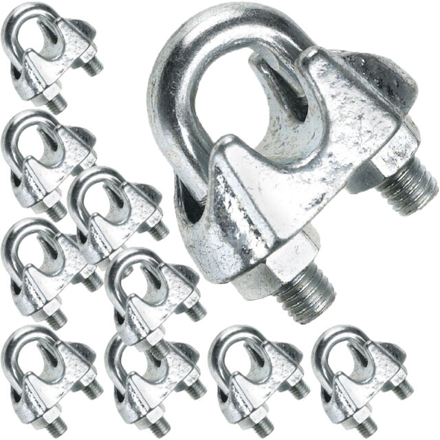 10 X 4mm Galvanised Steel Thimbles – Wire Rope Lashing Cable Hook ...