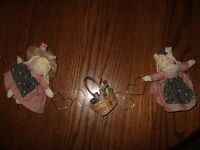 Stuffed Rabbit Bunny Mini Doll Clothes Home Decor Sewing Basket Country Handsewn