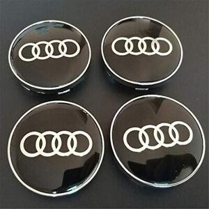 4x-60mm-Audi-noir-argent-jantes-couvercle-moyeux-capuchon-roue-enjoliveur-cache