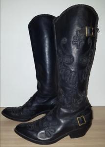 Ash botte cuir noir rock santiag taille 38