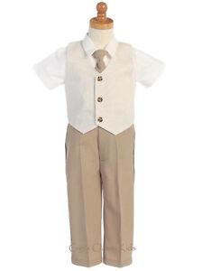 New Baby Toddler Kids Boys Khaki Seersucker Vest Suit Outfit Easter Wedding G824