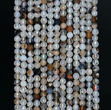 """4MM  AGATE GEMSTONE MOSS FACETED ROUND LOOSE BEADS 15"""""""