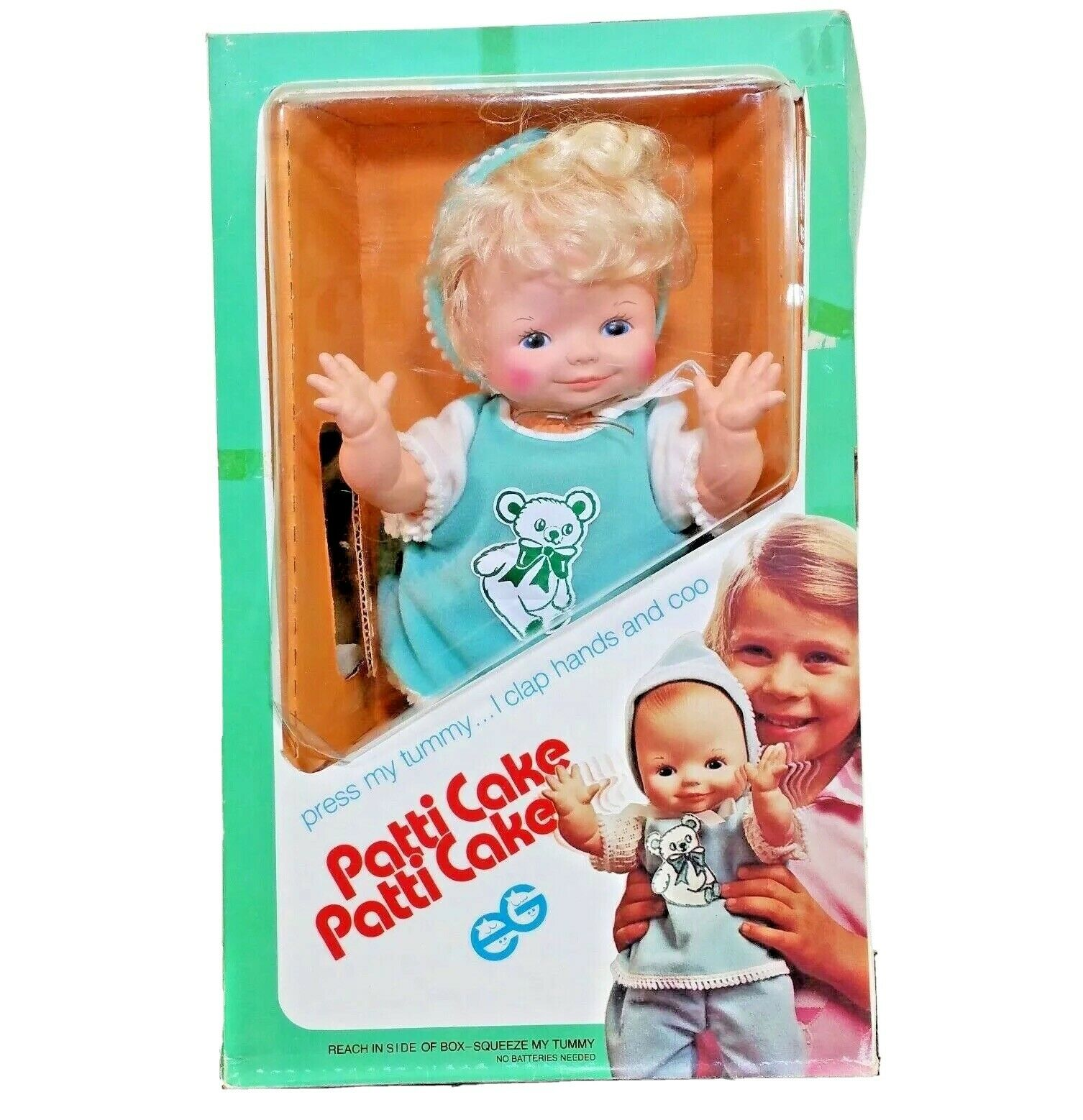 VINTAGE PATTY CAKE DOLL GOLDBERGER NEW IN BOX GREEN POLKA DOT OUTFIT CUTE