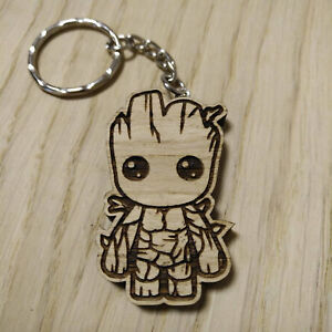 Details About Marvel Inspired Wood Keyring Baby Groot Laser Cut Keyring Keychain