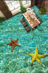 3D Sparkling Starfish 8 Floor Wall Paper Murals Wall Print AJ WALLPAPER UK Lemon