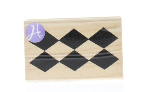 Diamond Check  Harlequin Pattern Wooden Rubber Stamp