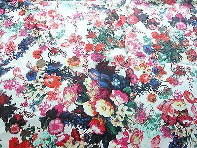 """STRETCH COTTON PRINT-BRIGHT""""WATERPAINT"""" FLORAL-DRESS FABRIC-FREE P&P"""