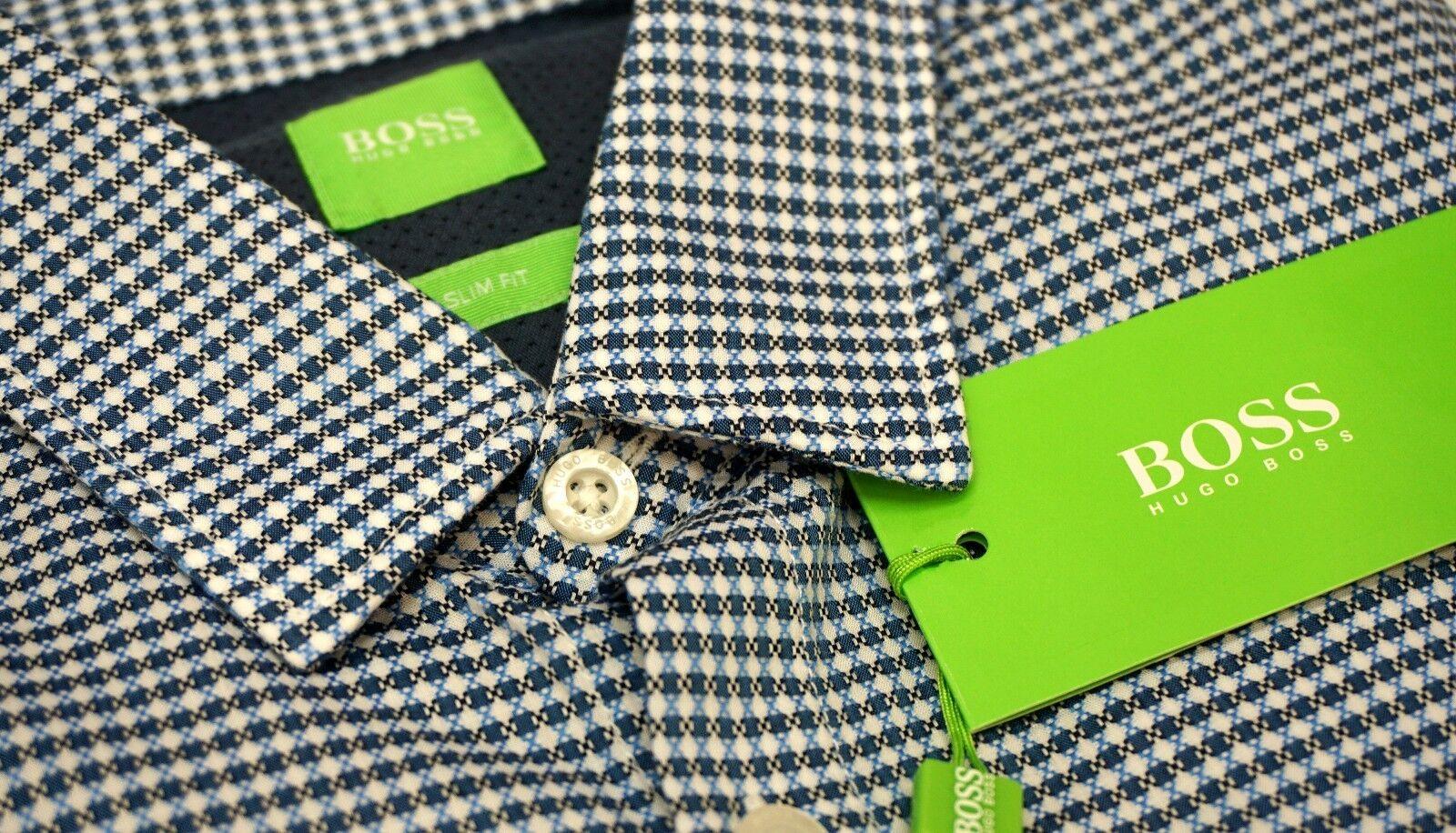 NWT  Hugo Boss bluee Shirt LS Mens M L XL Brizzi 50329928 410 Slim Fit NEW