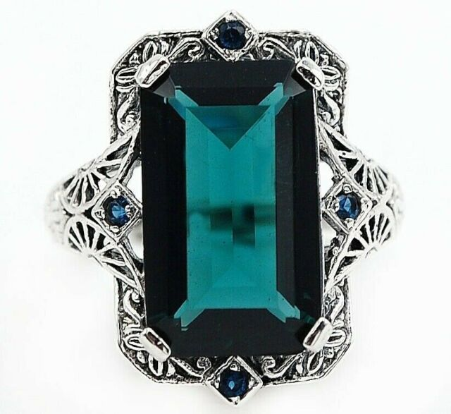 10CT Apatite  925 Sterling Silver Vintage Style Ring Jewelry Sz 8, PR41