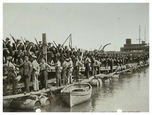 Antique-military-WW1-RPPC-postcard-Pontoon-Bridge-Built-By-The-Royal-Engineers
