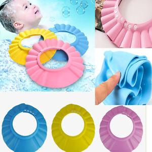 7e309851e Details about Adjustable Baby Kids Safe Shampoo Bath Bathing Shower Cap Hat  Wash Hair Shield