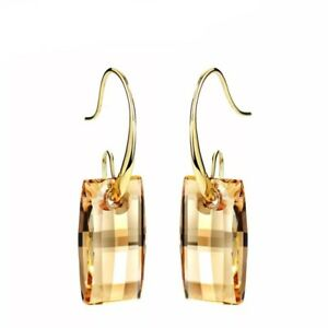 New-Made-With-Swarovski-Crystals-Champagne-Gold-Plated-Drop-Dangle-Hook-Earrings