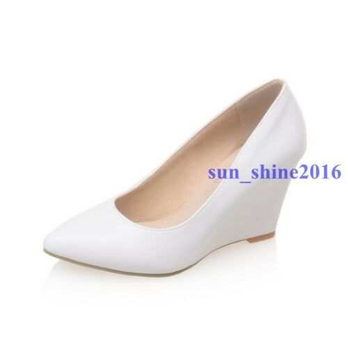New Summer Womens Pumps Pointed Toe High Wedges Heels 2020 Roman Shoes Plus Size