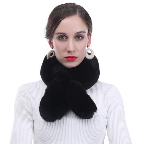 Womens Faux Fur Winter Warm Collar Neck Scarf Fluffy