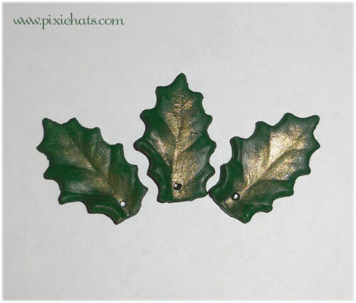 Holly leaf charms for Yule Christmas jewellery craft making evergreen leaves